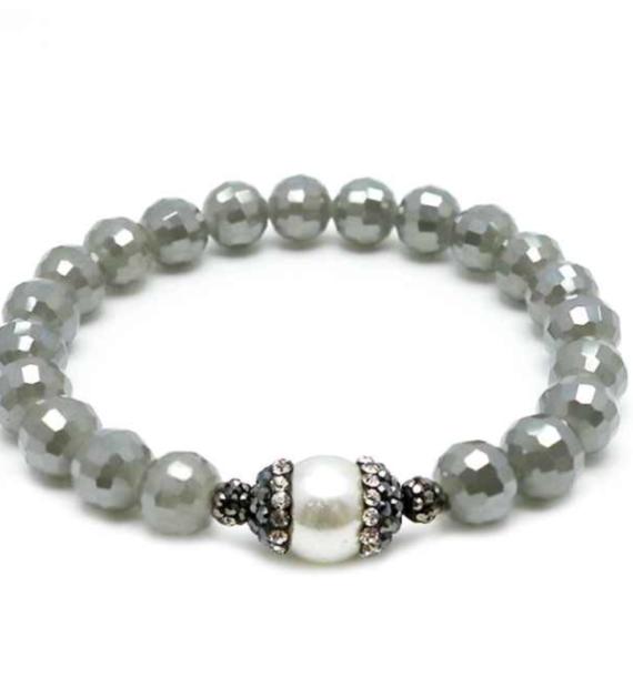 Stretch Bracelet Pearl Pave