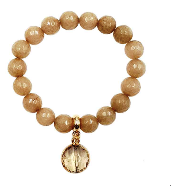 Agate Stretch Bracelet with Dangle Crystal Brown