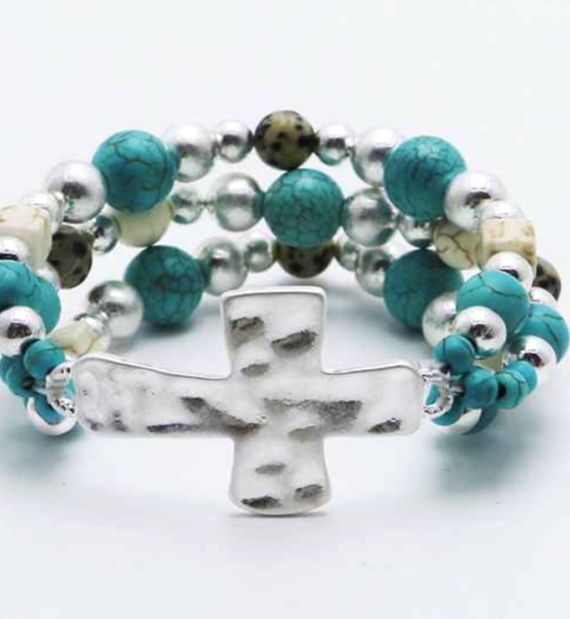Cross Stretch Bracelet natural Stone Turquoise