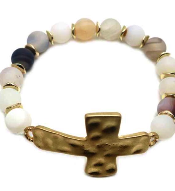 Agate Cross Stretch Bracelet Natural