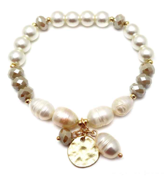 Freshwater Pearl Stretch Bracelet with Dangle Cream-Brown