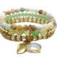 Agate, Crystal Stretch Bracelet with Dangle Crystal Mint