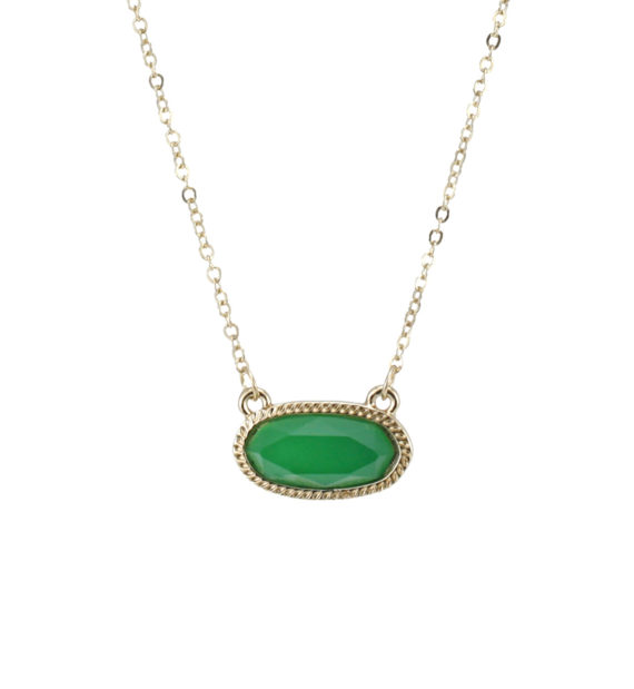 Designer Inspired Oval Pendant Gold Necklace Green 16 inches long with 3 inch extender, Pendant is 0.75 x 0.4 inches.