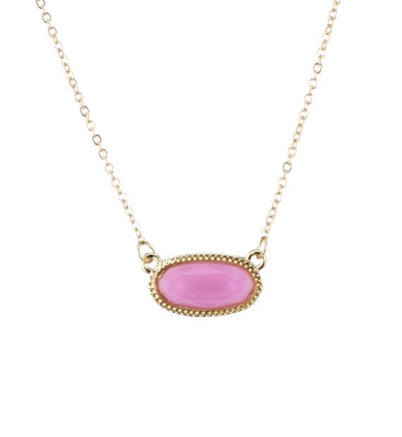 Designer Inspired Oval Pendant Gold Necklace Magenta Pink